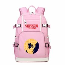 Stranger Things Kid Backpack Schoolbag Bookbag Daypack Pink Large Bag B - $51.97 CAD