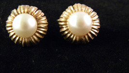Crown Trifari  Goldtone and Faux Pearl Flower Earrings - $13.19