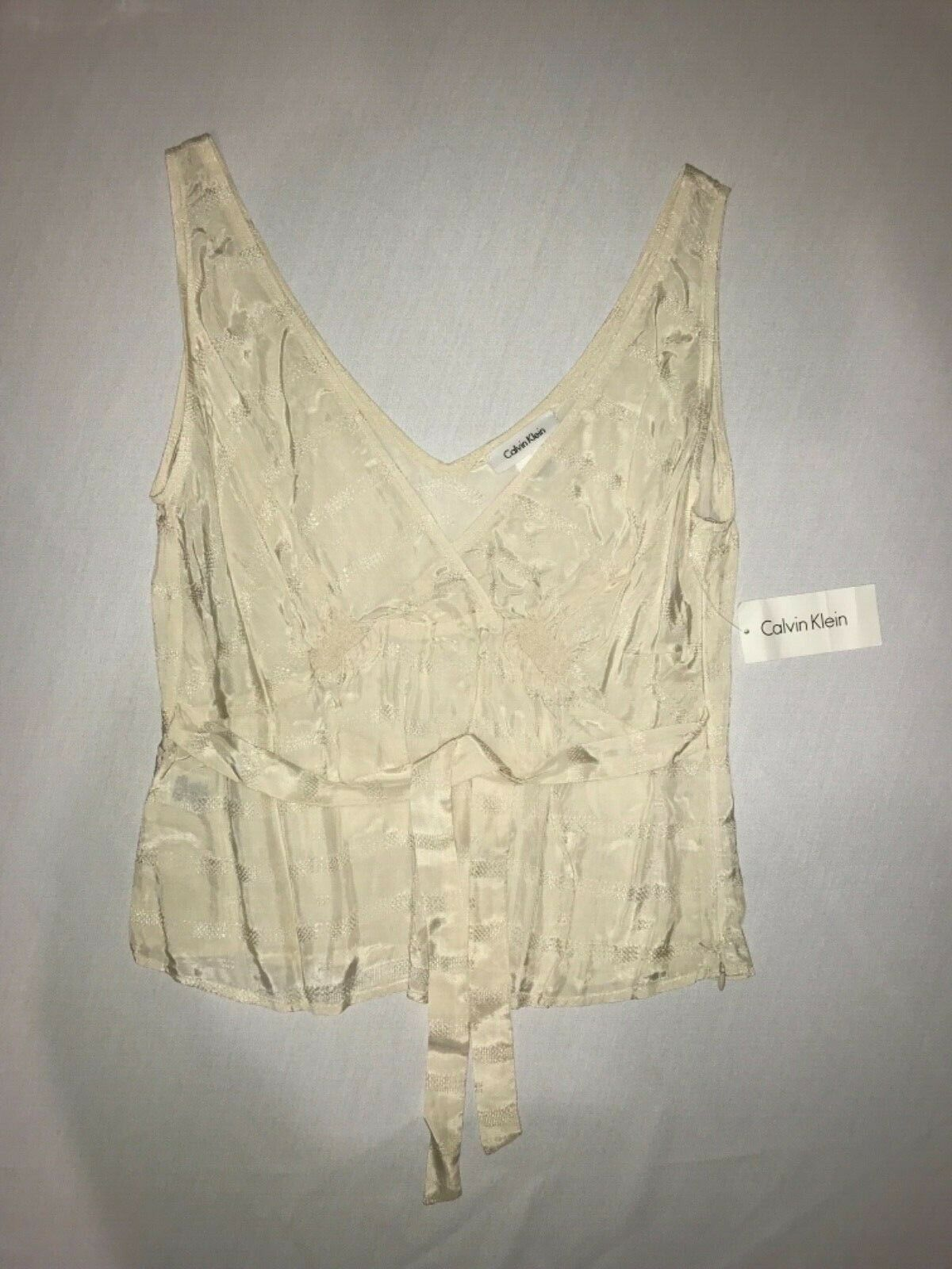 Primary image for Calvin Klein V-Neck Front & Back Camisole Top in 100% Silk Size 10