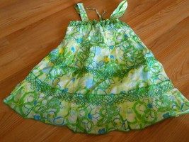 Girls Size 10 Justice Tiered Summer Tank Top Green Floral Flower Print Lined EUC - $12.00