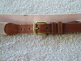Pre-Loved COACH Pink Linen and British Leather Belt with Brass Buckle SZ 34 - $14.00