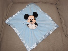 "Disney Store 13"" Mickey Mouse Security Blanket Rattle Blue Plush Lovey Satin - $37.61"