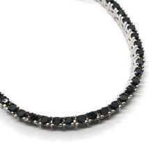 Bracelet Tennis, Argent 925, Zirconia Cubique Noirs, Taille Brillant, 2 MM image 3