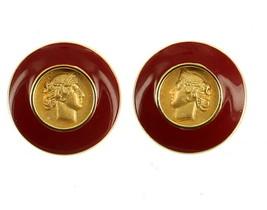 VINTAGE MONET ENAMEL HIGH CARAT GOLD LOOK MEDALLION GREEK ROMAN COIN EAR... - $67.49