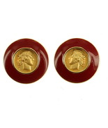 VINTAGE MONET ENAMEL HIGH CARAT GOLD LOOK MEDALLION GREEK ROMAN COIN EARRINGS - $67.49