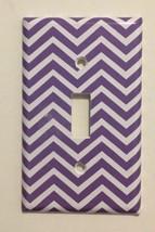 Purple  & White Chevron Light Switch Plate Cover wall home decor Bedroom... - $8.24