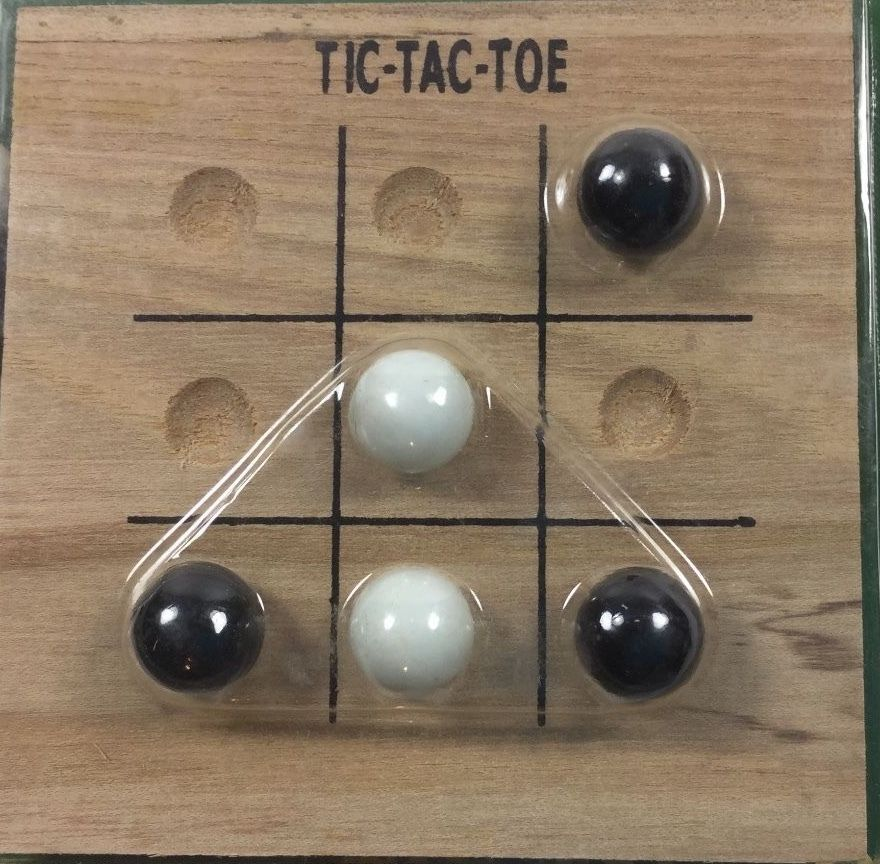 Tic Tac Toe Travel Size Solid Wood Board 10 Glass Marbles  4  x 4 Inch Sealed
