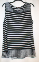NEW WOMENS PLUS SIZE 3X BELLDINI BLACK & WHITE STRIPED TANK TOP W FLARE ... - $10.12
