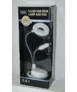 Thinktank Technology 90088 USB Hub Powered 12 LED Desk Lamp Fan - $19.99