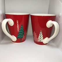 Starbucks Lot Of 2 Mugs Coffee Cups Red Trees 2017 - $17.64