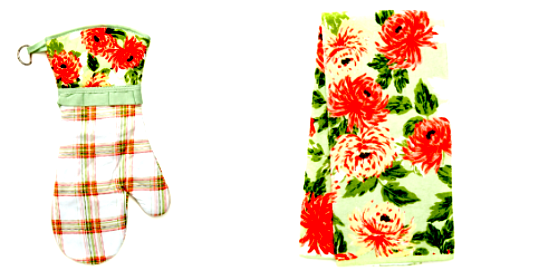 Laura Ashley La Multi Blooms Velour Kitchen Towel and Oven Mitt