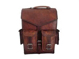 Real Buffalo leather handmade Backpack rucksack laptop Treking unisex Travel bag image 3