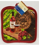 "2 PRINTED Kitchen Pot Holders, (7"" x 7"") WINE BOTTLE, GLASS, BARREL & GR... - $7.91"