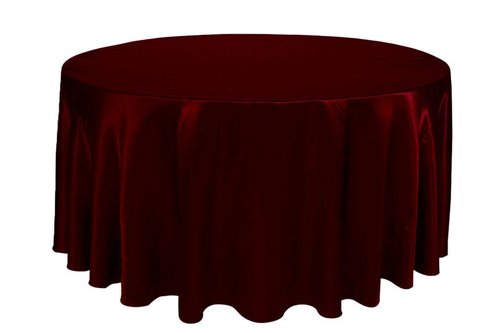 Primary image for Round Satin Tablecloth Burgundy 132 inch