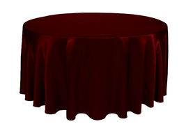 Round Satin Tablecloth Burgundy 132 inch - $42.99