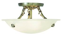 Livex Lighting 4272-01 Oasis 3-Light Ceiling Mount, Antique Brass - $121.30