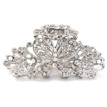 3.5 inch long butterfly woman white rhinestones metal hair claws clip pi... - $30.46