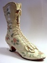 Victorian Wedding Boot Embelished Floral Pattern Scallop Top Just the Ri... - $24.99