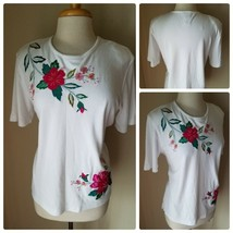 Koret Mujer Vintage Camiseta Top Blanco Bordado Flores Redondo Hombreras M - $34.66
