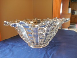 "Indiana Glass Mayflower Fruit Dewdrop Clear Wavy Rim Bowl 10 1/2"" Bubble - $33.99"