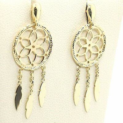 Yellow Gold Drop Earrings 750 18k, dreamcatcher, feathers, Italy Made