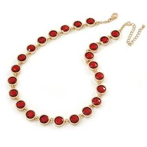Statement Bezel Set Red Glass Bead Necklace In Gold Plating - 44cm L/ 7c... - $83.80