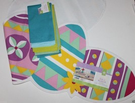 NWT 100% Cotton 48 x 14 Bright Easter Egg Table Runner + 4 Coordinating ... - $35.84