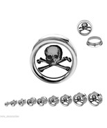 "PAIR-Skull & Crossbones Steel Screw On Ear Plugs 22mm/7/8"" Gauge Body Je... - $11.99"