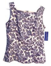 Sz 6 - NWT $45 Charter Club Blue & Beige Floral Top Size 6 - $28.49