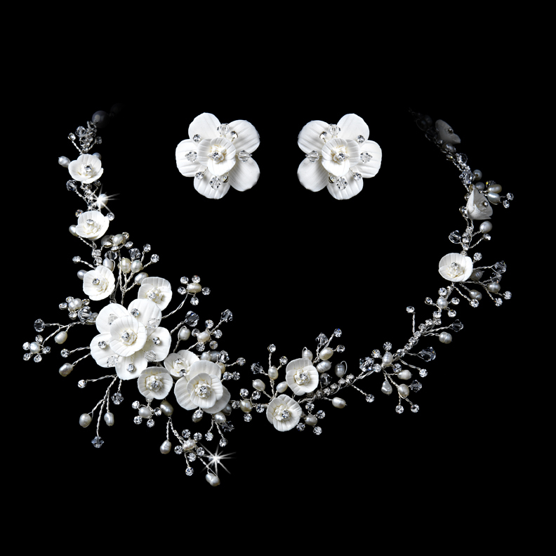 swarovski crystal porcelain and pearl floral bridal jewelry set jewelry sets. Black Bedroom Furniture Sets. Home Design Ideas