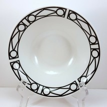 "Oneida Facade Coupe Soup Cereal Bowls Set of 2 Black and White Geometric 7"" - $12.62"
