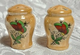 Lusterware Butterfly Hand Painted Light Orange Salt and Pepper Set image 2