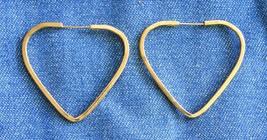 """Elegant Gold-tone Heart Hoop Pierced Earrings 1990s vintage 1 1/4"""" - $10.40"""
