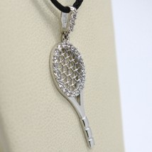 18K WHITE GOLD TENNIS RACKET ZIRCONIA PENDANT CHARM, 25 mm 1 inches, ITALY MADE image 2