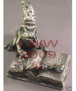 Pewter Toad in Wizard hat with Spell Book & Wand Figurine - $19.99