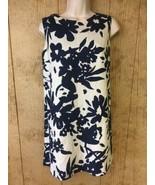 Carmen Marc Valvo Dress Womens Size 8 Floral Linen Blend Shift Ivory Blu... - $24.65