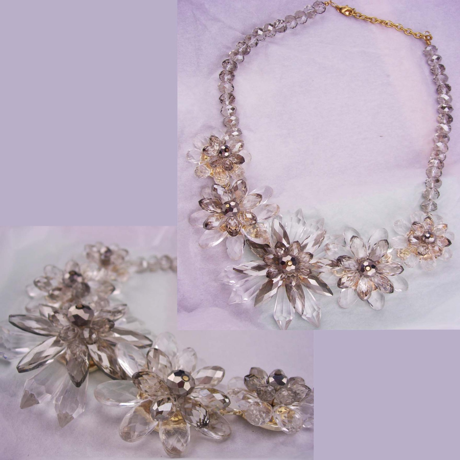Statement necklace / Runway jewelry / crystal faceted bib / Drag queen / clear f