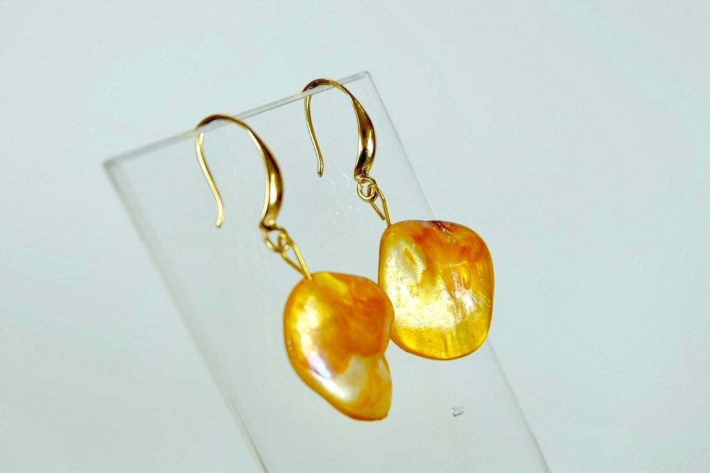 Golden Brown Abalone Shell Drop Earrings,  Modern Natural Sea shell Jewelry image 3