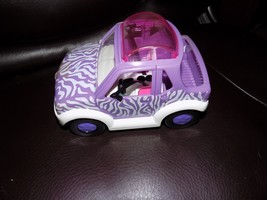 "2001 Polly Pocket purple zebra jeep car 6.5"" EUC - $18.48"