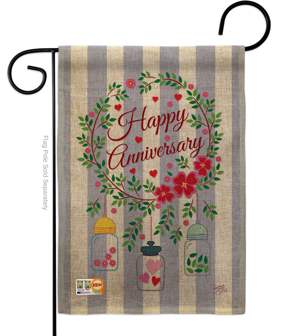 Primary image for Happy Anniversary Burlap - Impressions Decorative Garden Flag G165103-DB
