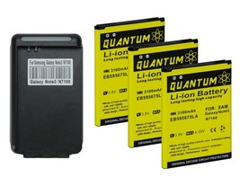3X QUANTUM  3100mAh Batteries + Charger for Galaxy Note 2 i317 (1 Year W... - $23.99