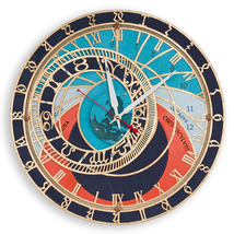 Prague Astronomical Wall Clock | Handcrafted Large wooden Home Decor