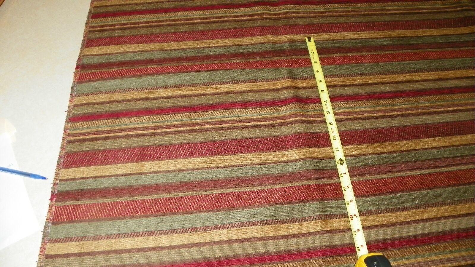 Burgundy Green Beige Stripe Print Upholstery Fabric Remnant  F1298 - $49.95