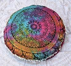 Traditional Jaipur Tie Dye Floral Elephant Mandala Floor Cushions, Decorative Th - $19.79