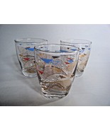 Mid Century Juice Glasses Set Of Three Blue Red and Gold Design - $12.82