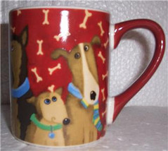 2011 Debi Hron Red Dog With Bones Design Handmade Ceramic Mug, 11oz - $25.00