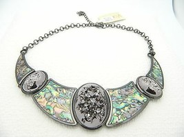 VTG Styled Silver Tone Abalone Silver Foil Runway Necklace Choker with T... - $39.60