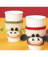 Sock Monkey Cup Cozy Sleeve Good for Hot or Cold Drinks, can make in any... - $8.00