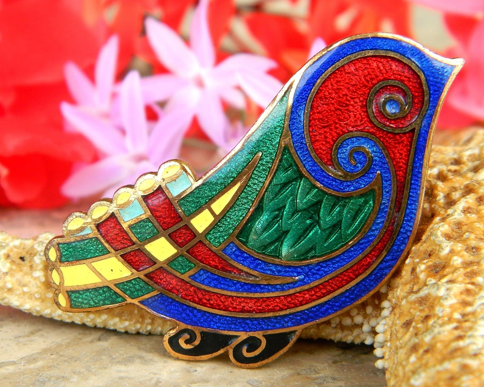 Primary image for Vintage Tara Ware Bird Brooch Pin Celtic Irish Multi Color Enamel