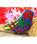 Vintage tara ware bird brooch pin celtic irish multi color enamel thumbtall